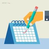 Διανυσματική επίπεδη ημερολογιακή απεικόνιση Στοκ Εικόνες
