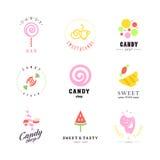 Διανυσματική επίπεδη συλλογή λογότυπων για το κατάστημα καραμελών και το γλυκό κατάστημα Στοκ φωτογραφία με δικαίωμα ελεύθερης χρήσης