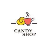 Διανυσματική επίπεδη συλλογή λογότυπων για το κατάστημα καραμελών και το γλυκό κατάστημα Στοκ εικόνα με δικαίωμα ελεύθερης χρήσης
