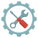 Διανυσματική επισκευή λογότυπων Εργαλεία, συντήρηση, υπηρεσία επισκευής απεικόνιση αποθεμάτων