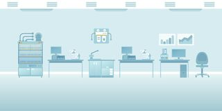 Διανυσματική επιστημονική εργαστηριακή εσωτερική κενή σκηνή στο επίπεδο ύφος ελεύθερη απεικόνιση δικαιώματος