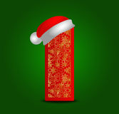 Διανυσματική επιστολή Ι αλφάβητου με το καπέλο Χριστουγέννων και χρυσά snowflakes Στοκ Εικόνα