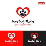 Διανυσματική επιχειρησιακών ιδέα λογότυπων καταστημάτων σκυλιών αγάπης/λογότυπων σχεδίου εικονιδίων στοκ εικόνες