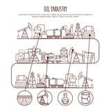 Διανυσματική λεπτή βιομηχανία πετρελαίου γραμμών infographic εργασία πετρελαίου μηχανισμών βιομηχανίας εξαγωγής κατασκευής Στοκ Εικόνες