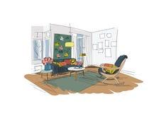 Διανυσματική εσωτερική απεικόνιση σχεδίου Έπιπλα καθιστικών Συρμένο χέρι σκίτσο watercolor μέσος αιώνας σύγχρονος δανικά Σχεδιαστ ελεύθερη απεικόνιση δικαιώματος