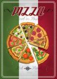 Διανυσματική ετικέτα ή αφίσα πιτσών ελεύθερη απεικόνιση δικαιώματος
