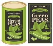 Διανυσματική ετικέτα για ένα δοχείο κασσίτερου των κονσερβοποιημένων πράσινων μπιζελιών διανυσματική απεικόνιση