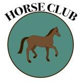 Διανυσματική ετικέτα για τη λέσχη αλόγων ή την οδηγώντας λέσχη με ένα καφετί άλογο Στοκ Εικόνες