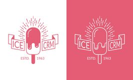 Διανυσματική ετικέτα παγωτού, διακριτικό Στοκ εικόνες με δικαίωμα ελεύθερης χρήσης