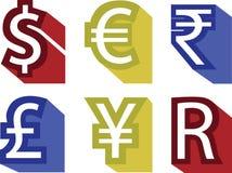 Διανυσματική ευρο- έννοια λιβρών δολαρίων χρημάτων νομίσματος απεικόνισης Στοκ Εικόνες