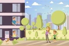 Διανυσματική ευτυχής οικογενειακή έννοια κινούμενων σχεδίων απεικόνισης απεικόνιση αποθεμάτων