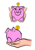 Διανυσματική ευτυχής piggy τράπεζα με το νόμισμα σε ετοιμότητα Στοκ εικόνα με δικαίωμα ελεύθερης χρήσης