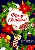Διανυσματική ευχετήρια κάρτα εορτασμού Χαρούμενα Χριστούγεννας απεικόνιση αποθεμάτων