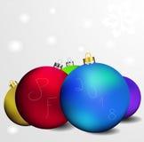 Διανυσματική ευχετήρια κάρτα με την επιγραφή pf 2018 και μερικές χρωματισμένες σφαίρες Χριστουγέννων Στοκ Φωτογραφία
