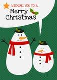Διανυσματική ευχετήρια κάρτα οικογενειακού χαρακτήρα χιονανθρώπων Χαρούμενα Χριστούγεννας Στοκ Εικόνα