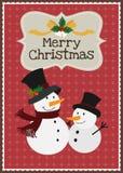 Διανυσματική ευχετήρια κάρτα οικογενειακού χαρακτήρα χιονανθρώπων Χαρούμενα Χριστούγεννας Στοκ Εικόνες