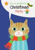 Διανυσματική ευχετήρια κάρτα χαρακτήρα γατών Χαρούμενα Χριστούγεννας Στοκ Εικόνες