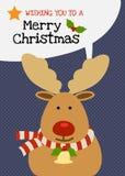 Διανυσματική ευχετήρια κάρτα χαρακτήρα ταράνδων Χαρούμενα Χριστούγεννας Στοκ Φωτογραφίες