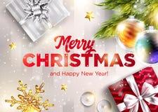 Διανυσματική ευχετήρια κάρτα Χαρούμενα Χριστούγεννας Καλή χρονιά 2019 ελεύθερη απεικόνιση δικαιώματος