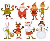 Διανυσματική ευχετήρια κάρτα χειμερινών διακοπών εικονιδίων χαρακτηρών κινουμένων σχεδίων φίλων Santa Χριστουγέννων απεικόνιση αποθεμάτων