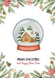 Διανυσματική ευχετήρια κάρτα Χριστουγέννων Watercolor με τη σφαίρα και το σπίτι γυαλιού, τους κομψούς κλάδους και τα δώρα απεικόνιση αποθεμάτων