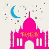 Διανυσματική ευχετήρια κάρτα Ramadan με τη σκιαγραφία του μουσουλμανικού τεμένους Στοκ Εικόνα