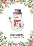 Διανυσματική ευχετήρια κάρτα Watercolor με το χριστουγεννιάτικο δέντρο, τους κομψούς κλάδους και τα δώρα διανυσματική απεικόνιση