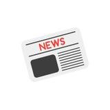 Διανυσματική εφημερίδα στο λευκό με το επίπεδο ύφος σχεδίου Στοκ Φωτογραφίες