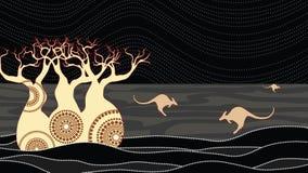 Διανυσματική ζωγραφική δέντρων αδανσωνιών Boab Αυτοώμον διανυσματικό υπόβαθρο τέχνης απεικόνιση αποθεμάτων