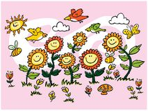 Διανυσματική ζωηρόχρωμη απεικόνιση ηλίανθων, πουλιών και μελισσών κινούμενων σχεδίων Κατάλληλος για τις ευχετήριες κάρτες και τις διανυσματική απεικόνιση