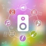 Διανυσματική ζωηρόχρωμη απεικόνιση με τα εικονίδια μουσικής Στοκ εικόνα με δικαίωμα ελεύθερης χρήσης