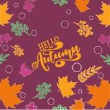 Διανυσματική ζωηρόχρωμη και ζωηρή σύνθεση φθινοπώρου απεικόνισης γειά σου του φθινοπώρου κειμένων γειά σου και των hand-drawn φύλ διανυσματική απεικόνιση