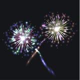 Διανυσματική ζωηρόχρωμη ομάδα πυροτεχνημάτων, εορταστικά λάμποντας στοιχεία σχετικά με το σκοτεινό υπόβαθρο ελεύθερη απεικόνιση δικαιώματος