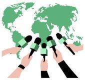 Διανυσματική ζωντανή έννοια εκθέσεων, χέρια των δημοσιογράφων με τα μικρόφωνα Ζήστε ειδήσεις Στοκ Φωτογραφία