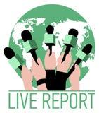 Διανυσματική ζωντανή έννοια εκθέσεων, χέρια των δημοσιογράφων με τα μικρόφωνα Ζήστε ειδήσεις Στοκ εικόνες με δικαίωμα ελεύθερης χρήσης