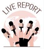 Διανυσματική ζωντανή έννοια εκθέσεων, χέρια των δημοσιογράφων με τα μικρόφωνα Ζήστε ειδήσεις Στοκ φωτογραφίες με δικαίωμα ελεύθερης χρήσης