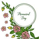 Διανυσματική ημέρα μνήμης απεικόνισης με τα ρόδινα ροδαλά πλαίσια λουλουδιών που απομονώνονται στο άσπρο υπόβαθρο διανυσματική απεικόνιση