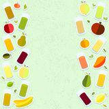Διανυσματική ημέρα παγκόσμιας υγείας γραφικής παράστασης στα κατασκευασμένα γυαλιά υποβάθρου για το χυμό, χυμός, άχυρο, φρούτα, μ διανυσματική απεικόνιση