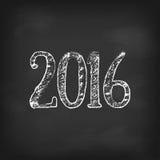 Διανυσματική ημερομηνία Χριστουγέννων έτους του 2016 νέα στο μαύρο πίνακα κιμωλίας Στοκ Εικόνα