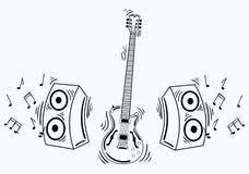 Διανυσματική ηλεκτρική κιθάρα με το ακουστικό σύστημα Στοκ φωτογραφίες με δικαίωμα ελεύθερης χρήσης