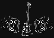 Διανυσματική ηλεκτρική κιθάρα με το ακουστικό σύστημα Στοκ εικόνα με δικαίωμα ελεύθερης χρήσης