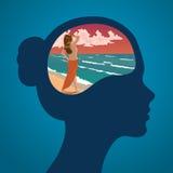 Διανυσματική θηλυκή σκιαγραφία του κεφαλιού με το όνειρο της απόλαυσης του ηλιοβασιλέματος σε μια παραλία στοκ εικόνες