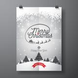 Διανυσματική διακοπές Χαρούμενα Χριστούγεννας και απεικόνιση καλής χρονιάς με το τυπογραφικό σχέδιο και snowflakes στο backgrou χ ελεύθερη απεικόνιση δικαιώματος