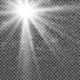 Διανυσματική διαφανής ελαφριά επίδραση φλογών φακών φωτός του ήλιου ειδική Λάμψη ήλιων με τις ακτίνες, το χιόνι και το επίκεντρο διανυσματική απεικόνιση