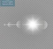 Διανυσματική διαφανής ελαφριά επίδραση φλογών φακών φωτός του ήλιου ειδική Λάμψη ήλιων με τις ακτίνες και το επίκεντρο Στοκ Εικόνες