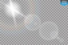 Διανυσματική διαφανής ελαφριά επίδραση φλογών φακών φωτός του ήλιου ειδική Λάμψη ήλιων με τις ακτίνες και το επίκεντρο στο διαφαν Στοκ Εικόνες