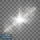Διανυσματική διαφανής ελαφριά επίδραση φλογών φακών φωτός του ήλιου ειδική Λάμψη ήλιων με τις ακτίνες και το επίκεντρο Στοκ Εικόνα