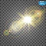 Διανυσματική διαφανής ελαφριά επίδραση φλογών φακών φωτός του ήλιου ειδική Λάμψη ήλιων με τις ακτίνες και το επίκεντρο Στοκ φωτογραφίες με δικαίωμα ελεύθερης χρήσης
