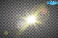 Διανυσματική διαφανής ελαφριά επίδραση φλογών φακών φωτός του ήλιου ειδική Λάμψη ήλιων με τις ακτίνες και το επίκεντρο Στοκ φωτογραφία με δικαίωμα ελεύθερης χρήσης