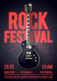 Διανυσματική ιπτάμενο κομμάτων συναυλίας φεστιβάλ βράχου απεικόνισης ή posterdesign πρότυπο με την κιθάρα, θέση για το κείμενο κα απεικόνιση αποθεμάτων